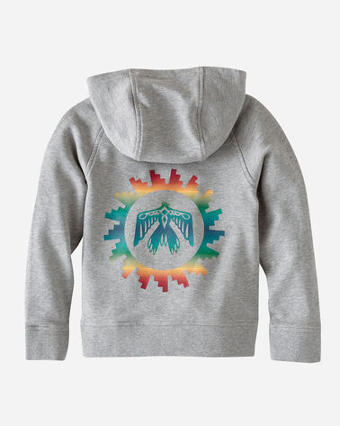ADDITIONAL VIEW OF KIDS' GRAPHIC HOODIE IN GREY HEATHER