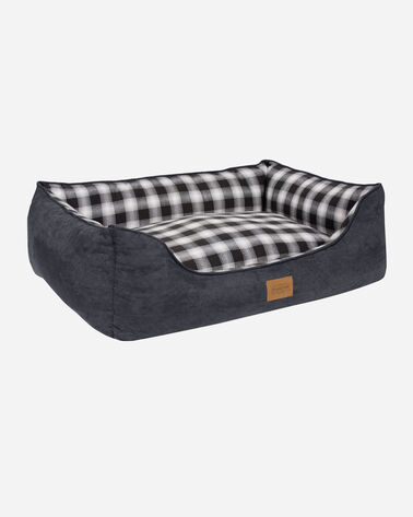 MEDIUM PLAID KUDDLER DOG BED IN CHARCOAL OMBRE