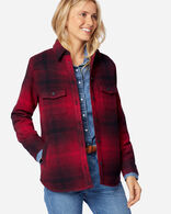 WOMEN'S FREMONT SHIRT JACKET IN RED/BLACK OMBRE