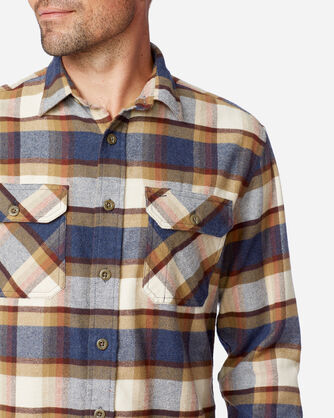 ALTERNATE VIEW OF BURNSIDE DOUBLE-BRUSHED FLANNEL SHIRT IN BLUE/CREAM/HENNA PLAID