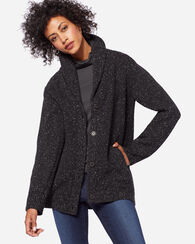 HIGHLAND CARDIGAN, BLACK FLECK, large