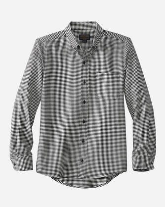 FITTED EVERGREEN WORSTED WOOL SHIRT, IVORY/NAVY HERRINGBONE, large