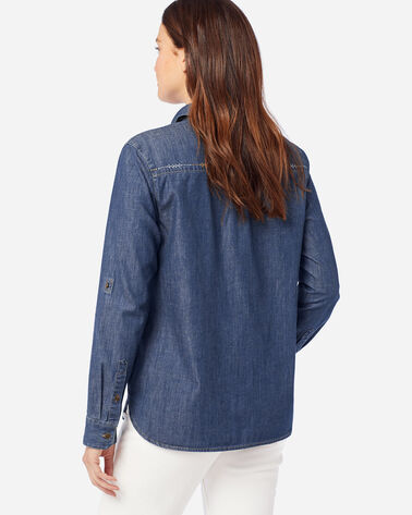 WOMEN'S STITCHLINE CHAMBRAY SHIRT IN MEDIUM DENIM