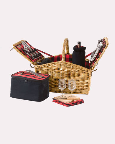 ROB ROY PICNIC BASKET, RED/BLACK PLAID, large