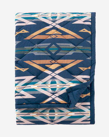 COTTON QUILTED THROW, STAR WATCHERS BLUE, large
