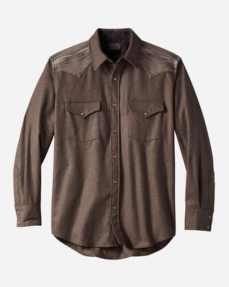 MEN'S FITTED PIECED JACQUARD CANYON SHIRT, BROWN MIX SOLID, large