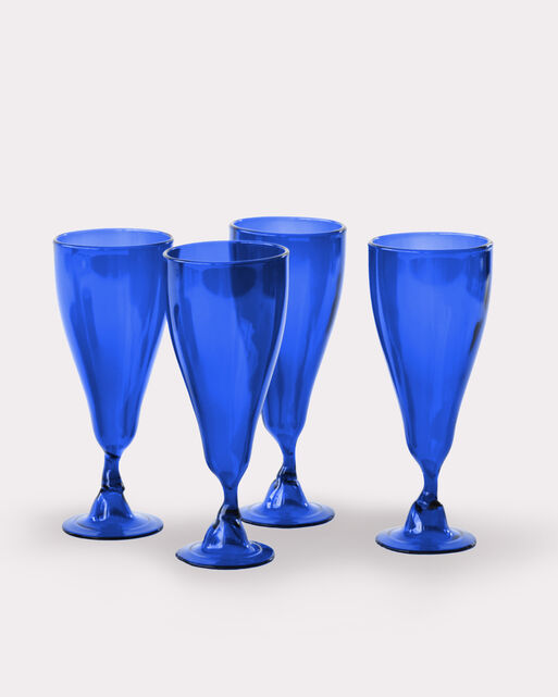 WINE BOTTLE GOBLETS, SET OF 4, COBALT, large
