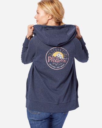 WOMEN'S SURF PENDLETON HOODIE, NAVY HEATHER, large