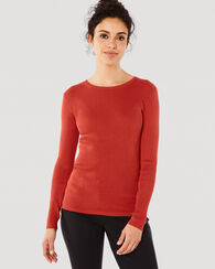 RIB JEWEL NECK PULLOVER, TOMATO RED, large