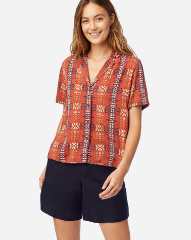 WOMEN'S SHORT-SLEEVE PATTERNED SHIRT IN RED OCHRE