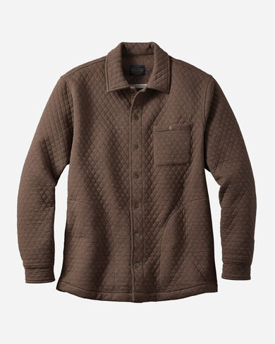 MEN'S QUILTED KNIT SHIRT JACKET IN BROWN HEATHER