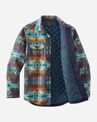 ALTERNATE VIEW OF MEN'S JACQUARD QUILTED SHIRT JACKET IN BLUE PILOT ROCK