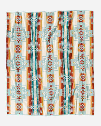 ALTERNATE VIEW OF CHIEF JOSEPH TOWEL FOR TWO WITH CARRIER IN AQUA