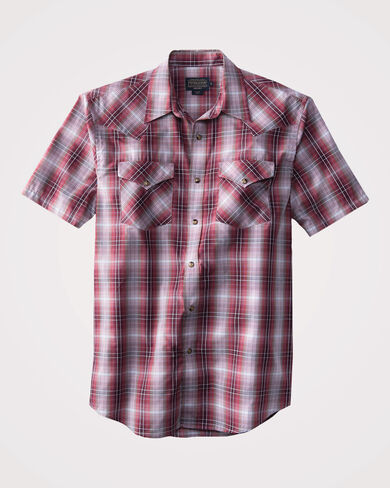 SHORT SLEEVE FRONTIER SHIRT, RED PLAID, large