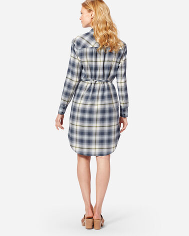 ADDITIONAL VIEW OF LONG SLEEVE PLAID SHIRTDRESS IN BLUE/GREEN