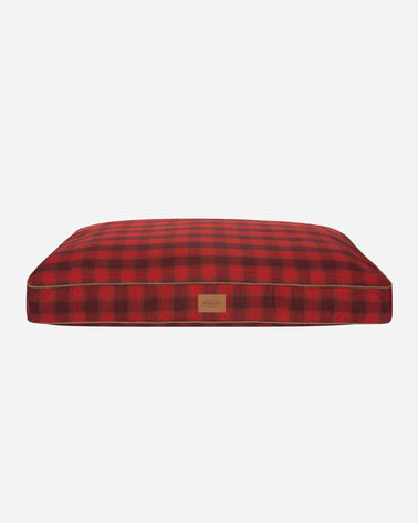 LARGE PLAID DOG BED, RED OMBRE, large