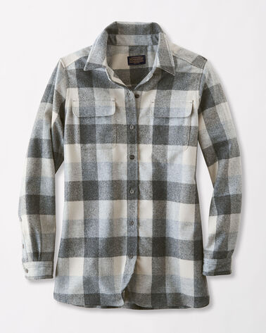 WOMENS BOARD SHIRT, GREY BUFFALO PLAID, large