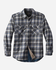 QUILTED SHIRT JAC, OXFORD MIX/BLUE PLAID, large