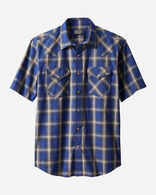 MEN'S SHORT-SLEEVE FRONTIER SHIRT IN BLUE/BROWN PLAID
