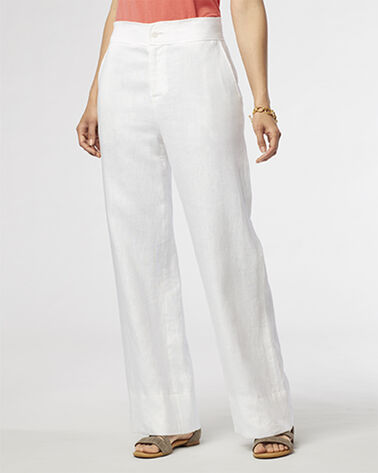 LINEN WIDE-LEG PANTS, WHITE, large