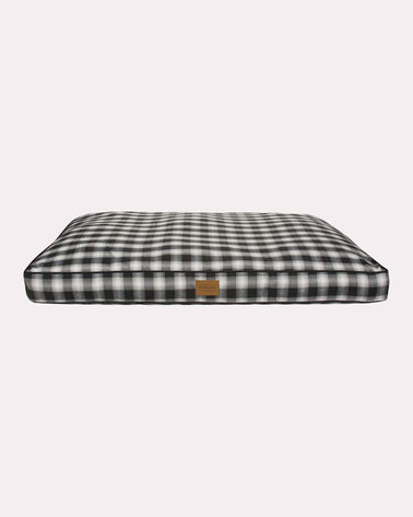 X-LARGE PLAID DOG BED, CHARCOAL OMBRE, large