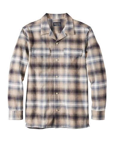 MEN'S FITTED BAJA BOARD SHIRT IN TAN/BLUE PLAID
