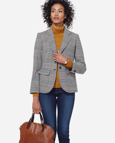 BRYNN GLEN PLAID WOOL BLAZER, NAVY/SPICE GLEN PLAID, large
