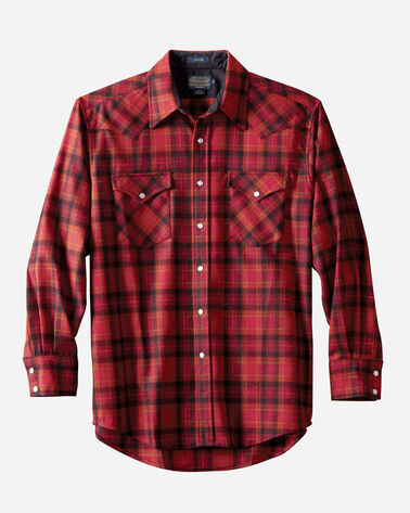 SNAP-FRONT WESTERN CANYON SHIRT, RED PLAID, large