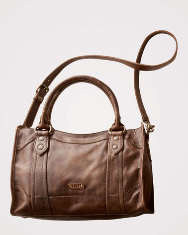 MELISSA LEATHER SATCHEL, DARK BROWN, large