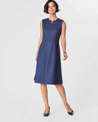 WORSTED WOOL FLANNEL SPLIT NECK DRESS, BALTIC BLUE, large