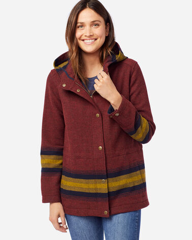 WOMEN'S ZION STRIPE ANORAK IN BRICK RED