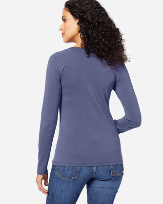 ADDITIONAL VIEW OF WOMEN'S LONG-SLEEVE COTTON RIBBED TEE IN INDIGO