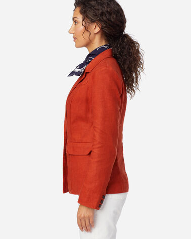 ALTERNATE VIEW OF WOMEN'S CLASSIC LINEN BLAZER IN RED OCHRE