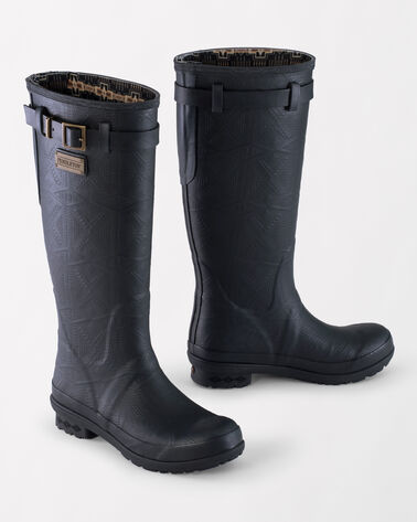 HERITAGE EMBOSSED TALL RAIN BOOTS, BLACK, large