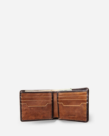ADDITIONAL VIEW OF LEATHER BI-FOLD WALLET IN TAN