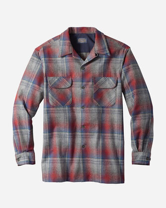 MEN'S BOARD SHIRT, GREY/RED OMBRE, large