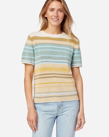 WOMEN'S STRIPE SHORT-SLEEVE SWEATER TEE IN GOLD/AQUA