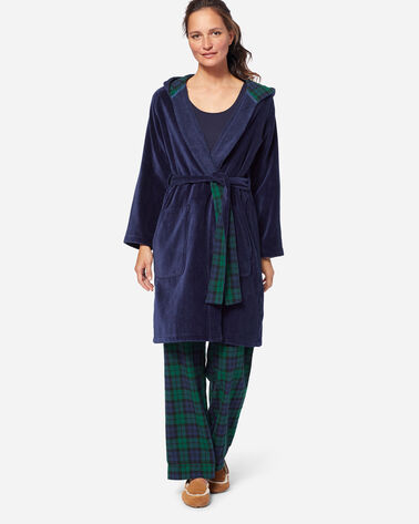 WOMEN'S SOLID COTTON ROBE IN NAVY/ANTIQUE WHITE
