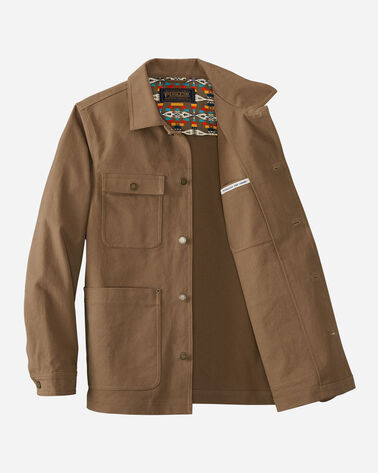 ALTERNATE VIEW OF MEN'S MILLS CANVAS CHORE JACKET IN MINERAL BROWN