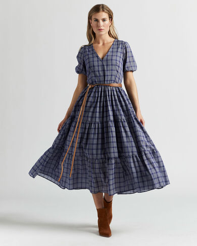 AIRY TIERED MIDI DRESS IN NAVY/WHITE PLAID