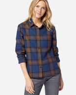WOMEN'S LODGE SHIRT, ROYAL BLUE/BROWN PLAID, large