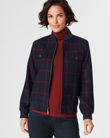 AINSLEY ZIP JACKET, NAVY/MAROON WINDOWPANE, large