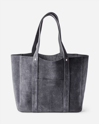 SUEDE REVERSIBLE TOTE IN GREY/CHARCOAL