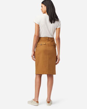 ALTERNATE VIEW OF BUTTON FRONT PENCIL SKIRT IN PEANUT