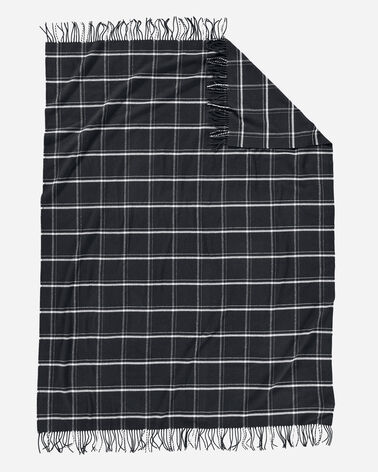 ADDITIONAL VIEW OF 5TH AVENUE WINDOWPANE MERINO THROW IN BLACK