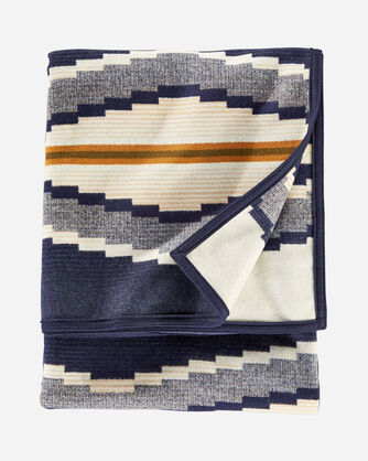 ALTERNATE VIEW OF CRESCENT BAY BLANKET IN INDIGO