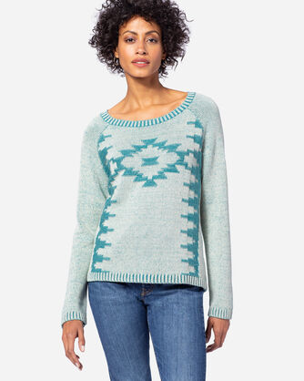 WOMEN'S SAND STITCH PULLOVER, SAND/TEAL, large