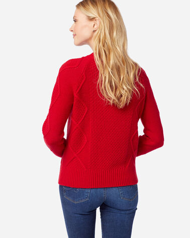 WOMEN'S DIAMOND CABLE CREW SWEATER in CHERRY RED