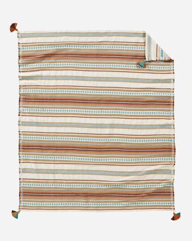 PALOMA STRIPE COTTON THROW, CAMEL, large