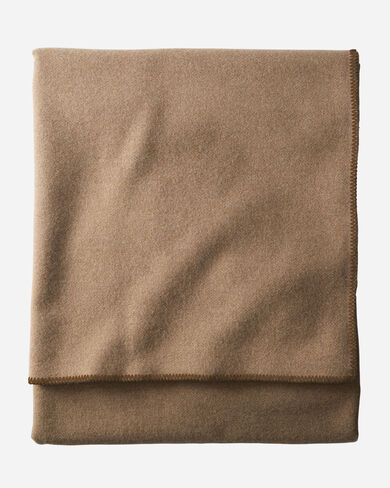 ECO-WISE WOOL SOLID BLANKET IN CAMEL